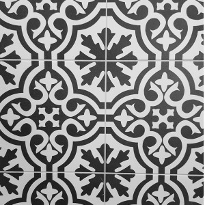 White & Charcoal Patterned Ceramic CEM15
