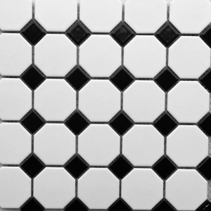 Octagonal White with Black insert CM24A