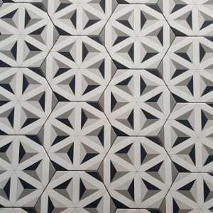 Hexagonal Ceramic Black White and Grey CEM8